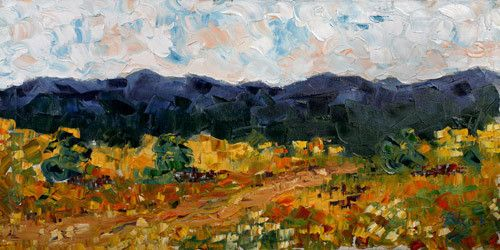 "Impressionism Colorado Landscape Painting ""Blue Mountains"" by Colorado Impressionist Judith Babcock"