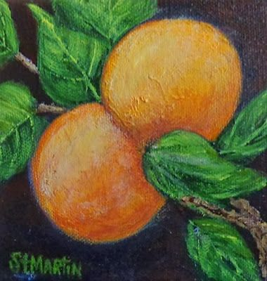 "Still Life Painting, Fruit,Orange, ""Florida Oranges"" by Florida Impressionism Artist Annie St Martin"