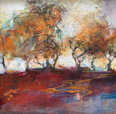 "Trees, Contemporary Mixed Media Landscape Painting ""AUTUMN HORIZON"" by Intuitive Artist Joan Fullerton"
