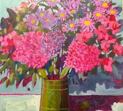 """Hydrangea, Flower Painting, Floral Art, Contemporary Bold Expressive Still Life, """"Early Spring Bouquet"""" by Bold Expressive Painter, Santa Fe Artist Annie O'Brien Gonzales"""