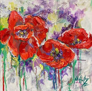 New Poppies Painting by Palette Knife Artist Niki Gulley