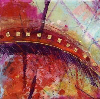 "Mixed Media Abstract Painting, Contemporary Art ""Summer Parade"" by Santa Fe Contemporary Artist Sandra Duran Wilson"