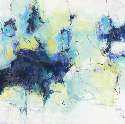 """Contemporary Abstract Expressionist Painting """"BROKEN BRAVERY"""" by Abstract Artist Pamela Fowler Lordi"""