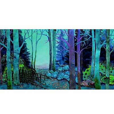 """Abstract Tree Painting, Mixed Media Landscape Art """"FANTASTIC FOREST"""" by Colorado Mixed Media Artist Carol Nelson"""