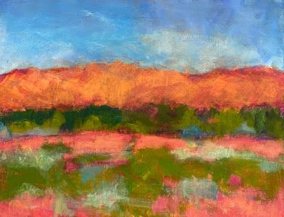 "Contemporary Expressionist Landscape Art Painting ""Abiquiu Hills"" by Santa Fe Artist Annie O'Brien Gonzales"