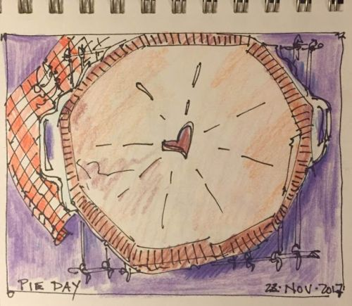 """Pie Day"" 4 x 6 pen, ink, colored pencil"
