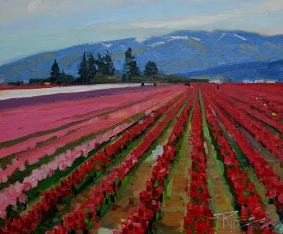 """Rows of Red"" Skagit county, plein air painting by Robin Weiss"