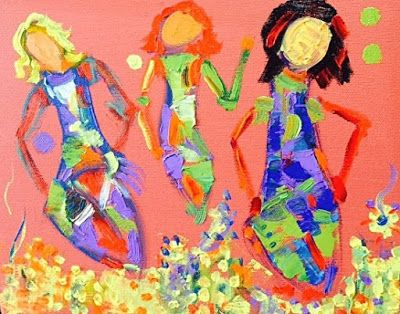 "Original Palette Knife Abstract Figurative Painting, Whimsical Figures, Dancing Women,""With Style"" by Colorado Impressionist Judith Babcock"