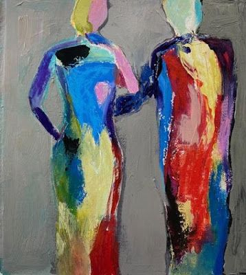 "Abstract Figurative Painting,""She Said Yes"" by Oklahoma Artist Nancy Junkin"