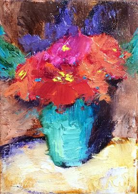 ACEO - Red Zinnias - A Fine Summer Bounty