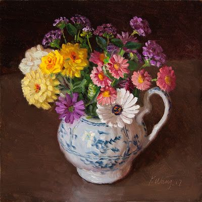 Flower in a blue and white vase still life oil painting original contemporary direct from the artist