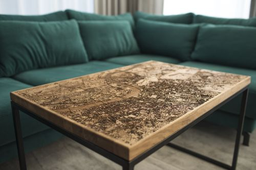 Engraved Wood and Resin Tables Glow With Maps of International Cities