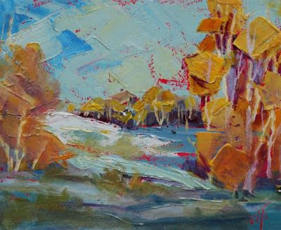 """Small Paintings, Contemporary Landscape, Fine Art Oil Painting """"Snowy Fall"""" by Colorado Contemporary Fine Artist Jody Ahrens"""
