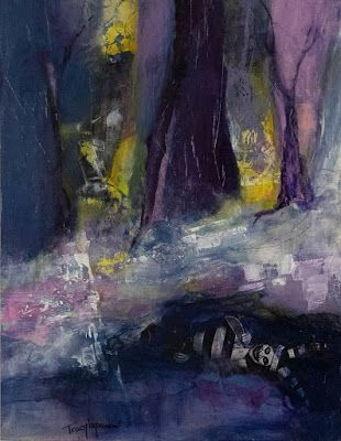 "Purple Painting, Mixed Media Landscape, Collage, Abstract Painting, Contemporary Art, Expressionism, ""Sweet Dreams Are Made of These"