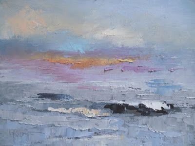 Abstract Seascape, Small Oil Painting, Daily Painting, Knife Artwork, Textured Seascape