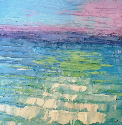 A little seascape painting and memories of a wonderful trip, Daily Painting, Small Oil Painting, Palette Knife Painting