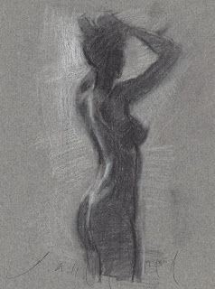 Female nude standing in front of a window