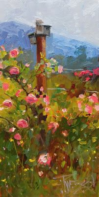 """Runaway Rose"" Paint the Peninsula 2018, plein air painting by Robin Weiss"