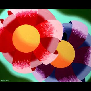 Mark Webster - Abstract Rough Futurist Flowers Oil Painting