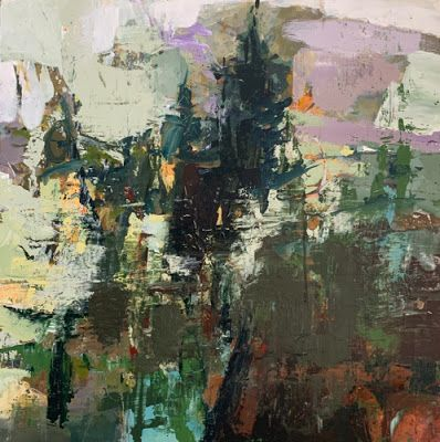 """Contemporary Art, Abstract Landscape Painting, Fine Art For Sale """"GROWING ON THE EDGE"""" by Intuitive Artist Joan Fullerton"""