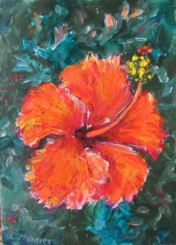 1735 Fiery Hibiscus Florida Oil Painting