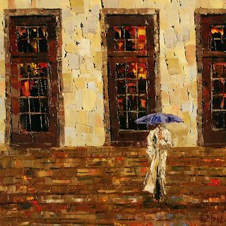 "Abstract Figurative,Woman, Cityscape Painting, Rainy City ""Down The Steps"" by Texas Artist Debra Hurd"