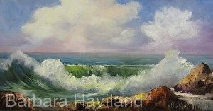 Seascape with Wave, oils,canvas,Barbara Haviland-Texas Contemporary Artist