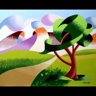 Mark Webster - Abstract Geometric Foothill Road Landscape Oil Painting