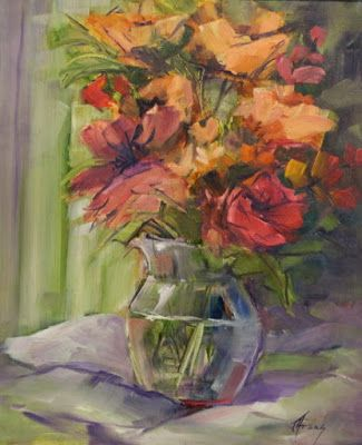 "Still Life Floral Painting, Fine Art Oil Painting, Flower Art Painting ""Flowers in a Glass Vase"" by Colorado Contemporary Fine Artist Jody Ahrens"