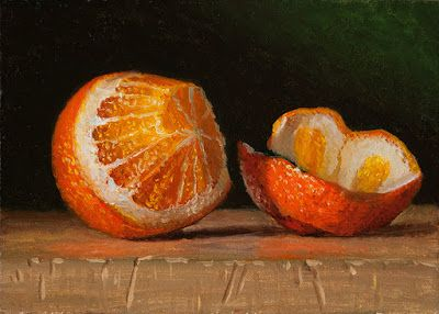 Orange peeled still life oil painting daily painting a day small work of art fruit painting contemporary realism