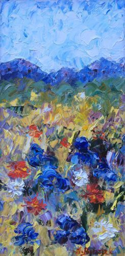 "Palette Knife Flower Art Painting ""Vail Meadow"" by Colorado Impressionist Judith Babcock"