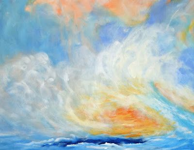 """Contemporary Abstract Seascape Painting """"Confined Escape"""" by International Abstract Realism Artist Arrachme"""