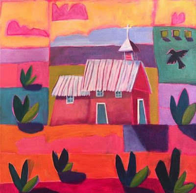 "Contemporary New Mexico Architecture Church Painting, Bold Expressive Landscape ""New Mexico Church"" by Santa Fe Artist Annie O'Brien Gonzales"