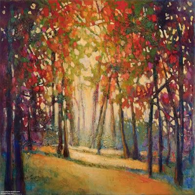 "Colorful Contemporary Landscape Painting, Abstract Landscape,Trees ""Follow Your Path"" by Passionate Purposeful Painter Holly Hunter Berry"