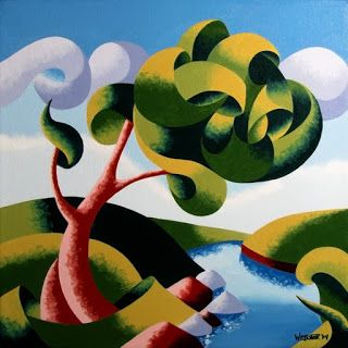 Mark Webster - Abstract Geometric Landscape Oil Painting 12x12