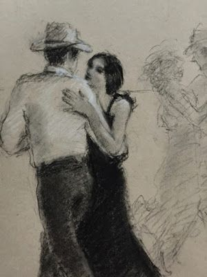 Another Country Evening - original charcoal figurative drawing