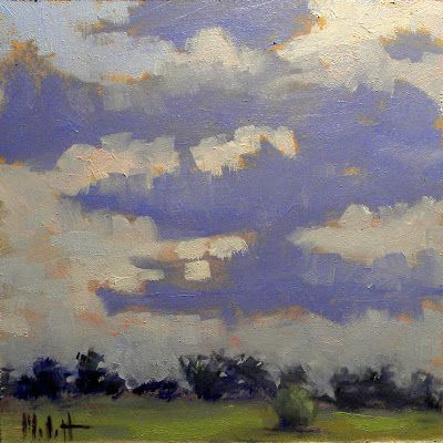 Impressionist Clouds Landscape Blustery Skies Daily Oil Painting Heidi Malott