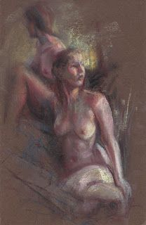 2 Female nudes plein air pastel painting drawing