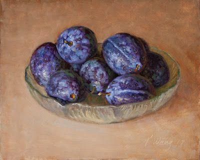 Fresh prunes fruit painting original still life contemporary daily painting a painting a day
