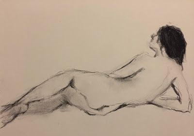Sketchbook Nude - original charcoal drawing of a nude