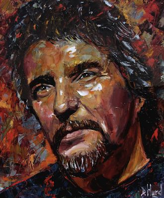 "Palette Knife Musician Art Portrait Oil Painting, Waylon Jennings ""Waylon"" by Texas Artist Debra Hurd"
