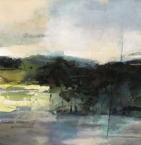 "Contemporary Abstract Landscape Art Painting,""SPRING SOLACE"" by Intuitive Artist Joan Fullerton"