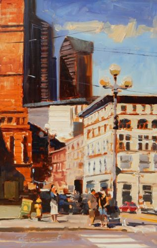 """Summer in the City"" Seattle city, oil painting by Robin Weiss"