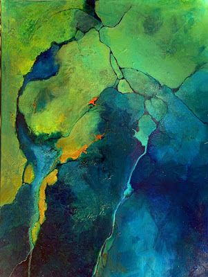 "Green Art, Geologic Abstract, Contemporary Mixed Media Painting ""Cool It"" by Colorado Mixed Media Abstract Artist Carol Nelson"