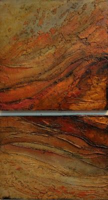 """SUMMER SALE- Mixed Media Geologic Abstract, """"Copper Reserve""""© Carol Nelson Fine Art"""