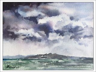 Skyscape 10 .Watercolor..Texas Artist.Rae Andrews