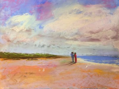 "Contemporary Beach Landscape, ""Encounter,"" by Amy Whitehouse"