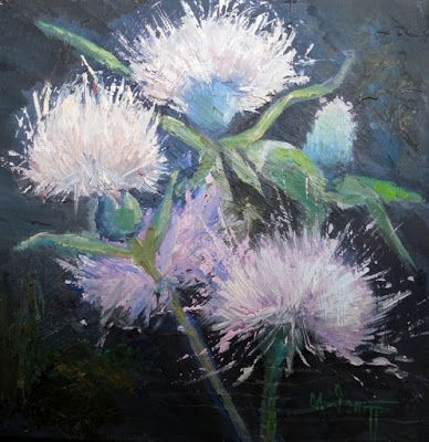 Thistle Painting, Small Oil Painting, Daily Painting, SOLD