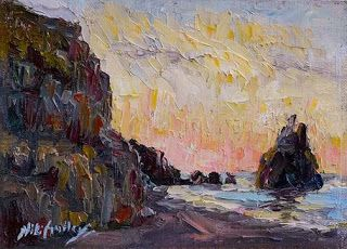 """New """"Black Beach Sunrise"""" Palette Knife Painting of Iceland by Niki Gulley"""
