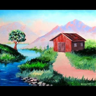 Mark Webster - Mountain Barn Landscape Oil Painting